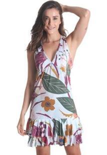 Vestido Praaiah Nadador Com Babados Flores Primavera - Feminino - Feminino-Vinho