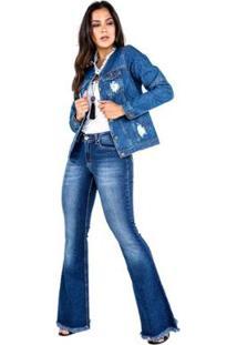 Jaqueta Jeans Com Puídos Feminina - Feminino-Azul