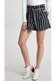 Short Feminino Bbb Clochard Cintura Alta Listrado Com Bolsos E Faixa Para Amarrar Preto