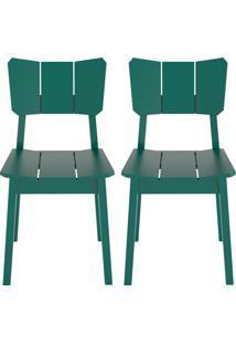 Conjunto De Cadeiras Uma - 2 Peã§As - Verde