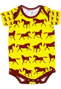 Body Manga Curta Isabb Cavalos Amarelo - Kanui