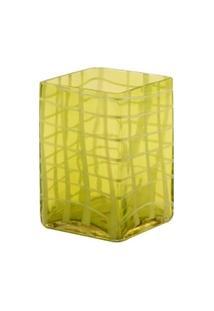 Vaso De Vidro Decorativo Green Check Pequeno - Unissex