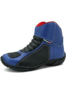 Bota Motociclista Couro Nobuck Semi Impermeável Conforto Azul