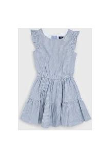 Vestido Polo Ralph Lauren Infantil Listrada Azul/Branco