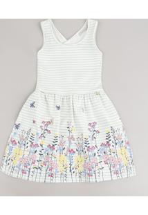 Vestido Infantil Listrado Com Estampa Floral E Transpasse Alça Média Off White