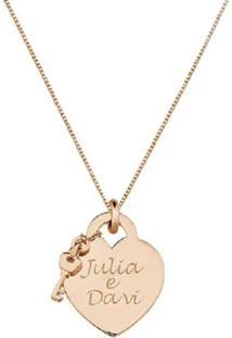 Colar Pingente Coração Com Chave Personalizado Banhado A Ouro Rosé