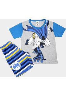 Pijama Infantil Lupo Curto Batman Masculino - Masculino-Cinza+Azul