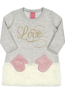 Vestido De Moletom Infantil - Love - Off White - Kamylus - P