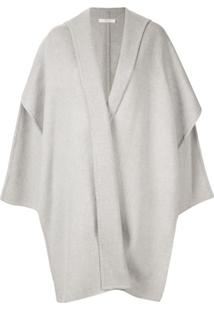Seya. Hooded Knit Cape - Cinza