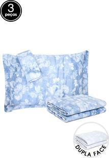 Kit 3Pçs Cobreleito Queen Santista Dupla Face Home Design Elisa Azul