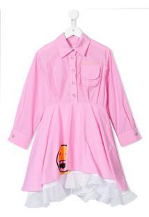Natasha Zinko Kids Vestido Com Estampa De Logo E Sobreposição - Rosa