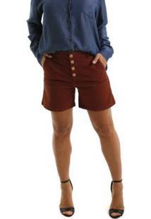 Bermuda Jeans Equivoco Hoboken Feminina - Feminino-Marrom