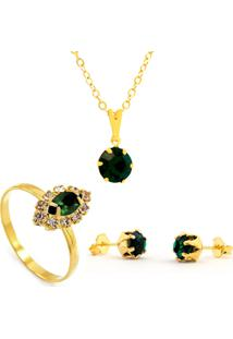 Kit Horus Import Gargantilha Pingente Verde Esmeralda - Brincos - Anel - Banhado Em Ouro 18K - Kit10534 - Kanui