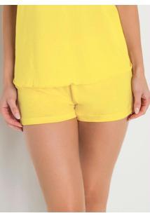 Short De Pijama Amarelo Com Estampa Localizada