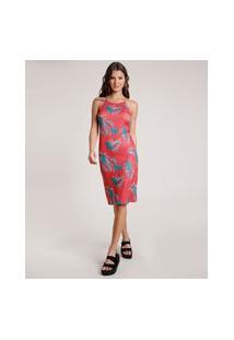 Vestido Feminino Curto Canelado Estampado De Folhagem Alça Fina Vermelho