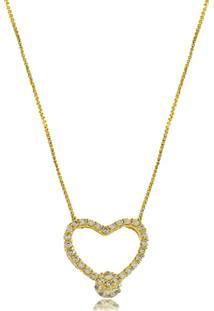 Colar Coração Ponto De Luz Com Zircônias 3Rs Semijoias Dourado