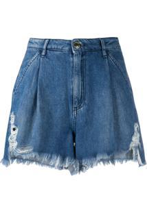Pinko Short Jeans Cintura Alta Com Pregas - Azul