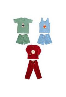 Kit 3 Pijamas Infantil Algodão Menino Mechler Multicolorido