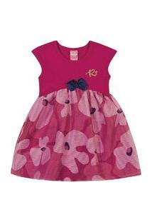 Vestido Com Tule Kinha Em Cotton Alto Veráo Rosa Escuro