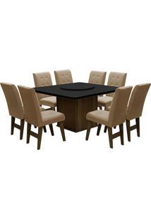 Conjunto De Mesa Para Sala De Jantar Com 8 Cadeiras Esparta-Dobue - Castanho / Preto / Mascavo