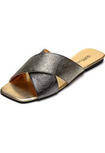 Rasteira Dafiti Shoes Tiras Cruzadas Prata