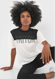 Camiseta Triton Tule Aplicações Off-White