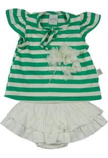 Conjunto Bebê Malha Listrada Capri Flores Aplicadas Ano Zero - Feminino-Verde