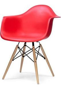 Cadeira Eames Com Braco Base Madeira Vermelho Fosco - 18185 - Sun House