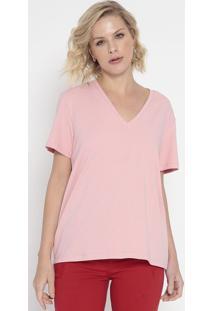Camiseta Lisa Com Bordado- Rosa- Colccicolcci