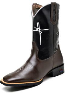 Bota Texana Fak Boots Cano Longo Bordado Fé Café