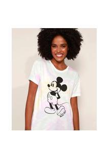 Camiseta Feminina Mickey Estampada Tie Dye Manga Curta Decote Redondo Multicor