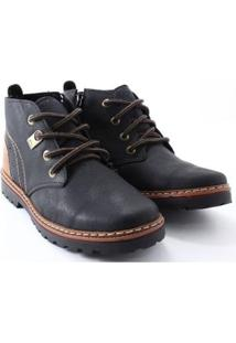 Bota Strikwear Casual Cadarço Masculina - Masculino-Preto