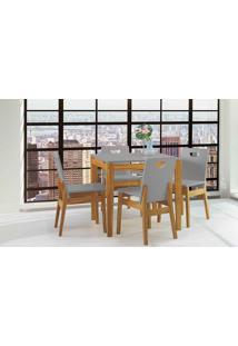 Mesa Com Cadeiras Tucupi 80Cm - Acabamento Stain Nózes E Cinza Concreto