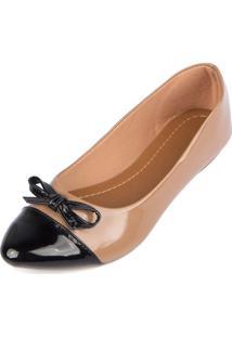 Sapatilha Trivalle Shoes Nude Com Preto