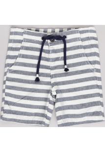 Bermuda Infantil Listrada Com Cordão Off White