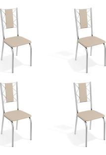 Conjunto Com 4 Cadeiras De Cozinha Lisboa Cromado E Nude