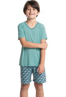 Pijama Infantil Masculino Curto Estampado Clóvis