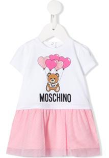 Moschino Kids Vestido Reto Com Estampa De Logo - Branco