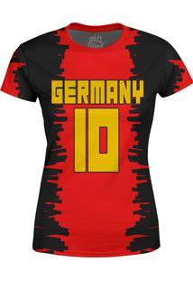 Camiseta Estampada Baby Look Over Fame Alemanha Vermelha