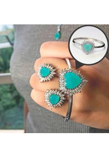 Bracelete Coração Com Cristal Na Cor Verde Folheado A Ródio