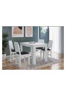 Conjunto Mesa Fixa Com 4 Cadeiras Mdf Branco E Preto Lilies