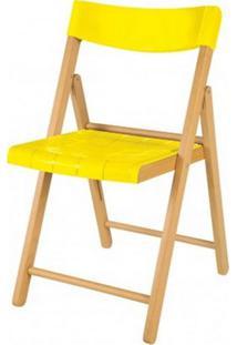 Cadeira Potenza Dobravel Natural Com Plastico Amarelo- 20643 - Sun House
