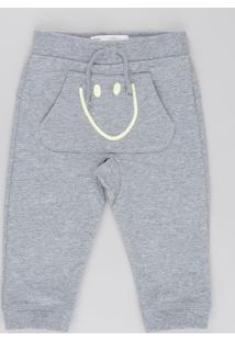 Calça Smile Em Moletom De Algodão + Sustentável Cinza Mescla