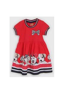 Vestido Kyly Infantil Cachorrinho Vermelho