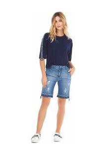 Bermuda Slim Detalhe Galao Jeans 38