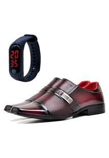Sapato Social Elegant Com E Sem Verniz Com Relógio Led Fine Dubuy 814La Vermelho