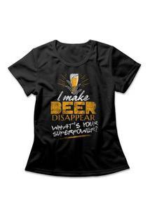 Camiseta Feminina Beer Disappear Preto