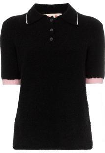 Marni Contrast Cuff Fluffy Polo Shirt - Preto