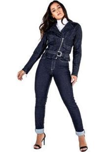 Jaqueta Jeans Perfecto Feminina - Feminino-Azul Escuro