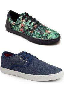 Kit Tênis 2 Polo State Tille Floral + Tille Masculino - Masculino-Azul